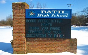 HS sign with School Board Appreciation message