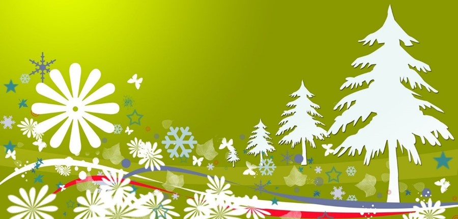 Picture of snowflakes and trees