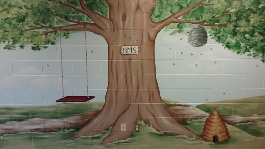 Middle School Mural of Tree Swing Bees and Hive
